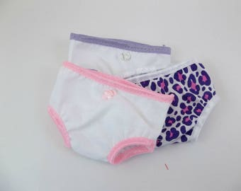 18 inch Doll Underwear Fits American Girl Doll  3 pr.   White Cotton & Animal Print Panties