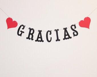 Gracias Banner - Custom Colors - Spanish Thank You - Wedding Decoration or Photo Prop