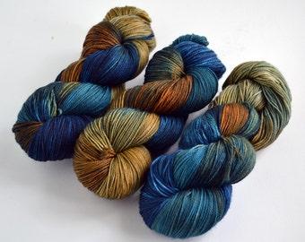 Hand dyed yarn pick your base - Cobalt & Rust- sw merino cashmere nylon fingering dk worsted