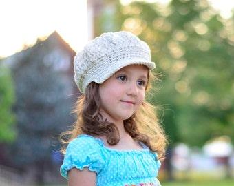 Toddler Girl Crochet Hat, Crochet Hat for Girls, Little Girl Hat, Crochet Newsgirl Hat, Newsboy Hat for Girls, Girl's Hat, Teen Girl Hats
