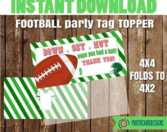 Football Tag Topper, Football Party, Football, Football Favor, Football Printable, Thank You, Party, Digital, Printable, INSTAnT DoWNLOAD