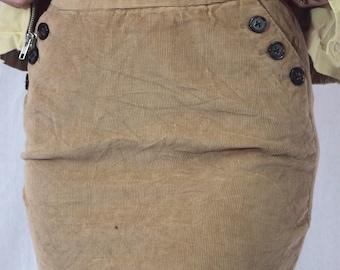 1990's Tan Corduroy Mini Skirt