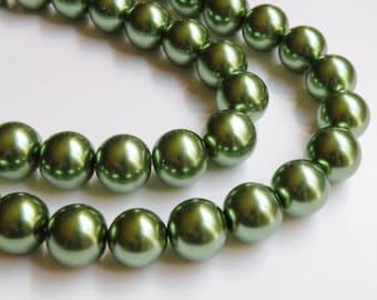 Olive green glass pearl beads round 16mm full strand 9905GL