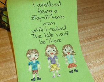 Embroidered Towel - Kitchen Towel - Funny SAHM  - Funny Towel – Stay At Home Mom Towel  – Kitchen Décor - Funny Mom Gift - Kitchen Towel