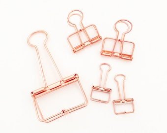 Binder Clips - Rose Gold (Large 1 pc / Medium 2 pcs / Small 3 pcs) Korean Stationery Planner Accessories Metal Clip Set