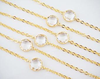 Dainty Clear Crystal Gem Bracelets | Bridesmaid Bracelets | Wedding Jewelry  BCG1, BCS1