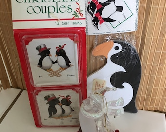 "Vintage 80's  ""PENGUIN CHRISTMAS ITEMS"" - 4 Items - Ornament, Box Tags, Gift Trims & Note Pad"