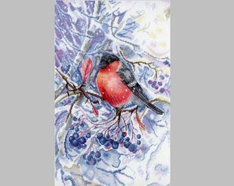 NEW UNOPENED Counted Cross Stitch Kit MP Studio HB665 In the Snow White Forest Bird Winter