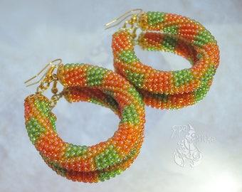Boho earrings Gift for her Hoop earrings Gypsy earrings Gift birthday Seed bead earrings Dainty earrings Earrings for girl Elegant earrings