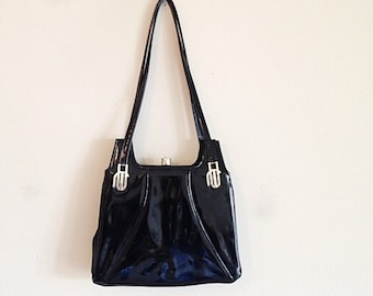 Vintage Mad Men Black Patent Leather Retro Mid Century Handbag Purse Shoulder Bag 1960s