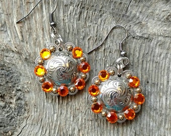Chunky Western Glam- Silver and Gold Round Berry Concho Drop Earrings with Orange Rhinestones