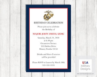 US Marine Corps Birthday Invitation, Printable Marine Corps Birthday Invitation, Military Birthday Invitation, US Marine Corps Birthday