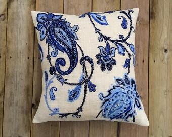 Needlepoint kit DIVINE - blue,indigo,paisley,cross stitch,embroidery,boho chic,burlap pillows,scandinavian,swedish,anette eriksson,diy kits,