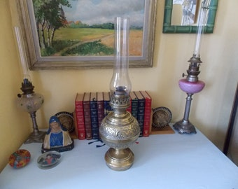 French Art Nouveau Brass Oil Lamp
