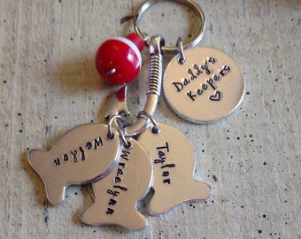 Custom personalized name fishing keychain with fish hook tackle lure bobber great gift for dad Papa grandpa daddy father's Day Hand Stamped