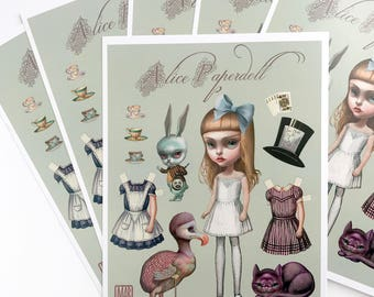 Alice - full color Big Eyes pop surrealism paper art doll sheet - by Mab Graves