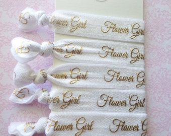 Handmade White and Gold Flower Girl Elastic Hair Tie Set // Flower Girl Gifts // Bridal Party // Wedding Gifts