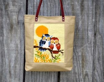 Owl Needlepoint Canvas Tote Bag Beige Leather Vintage Needlepoint  Hobo Bag Purse