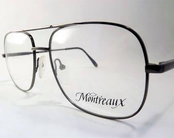 Mens Glasses, Aviator Eyeglasses, Double Bridge Glasses, Bronze Wire Eyeglasses, Gunmetal Glasses, Big Aviator Glasses, Flexible Temple Arms