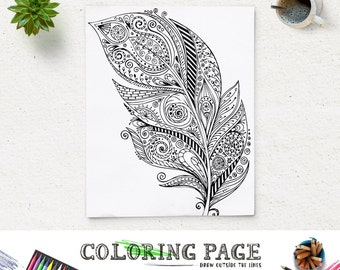 SALE Printable Adult Feather Coloring Page Art Book AntiStress Therapy Instant Download Zen