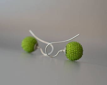 beaded globe earrings green