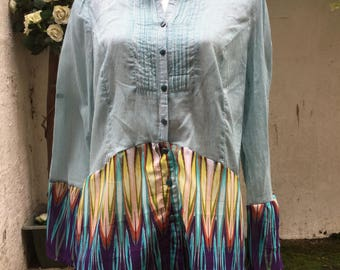 Upcycled Shirt Blouse Tunic Top Recycled Mix Size Medium Silk