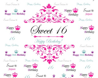 Sweet 16 backdrop, Event step and repeat Backdrop, Birthday photo backdrop, Red Carpet Backdrop, Sweet 16 birthday banner, Party backdrop