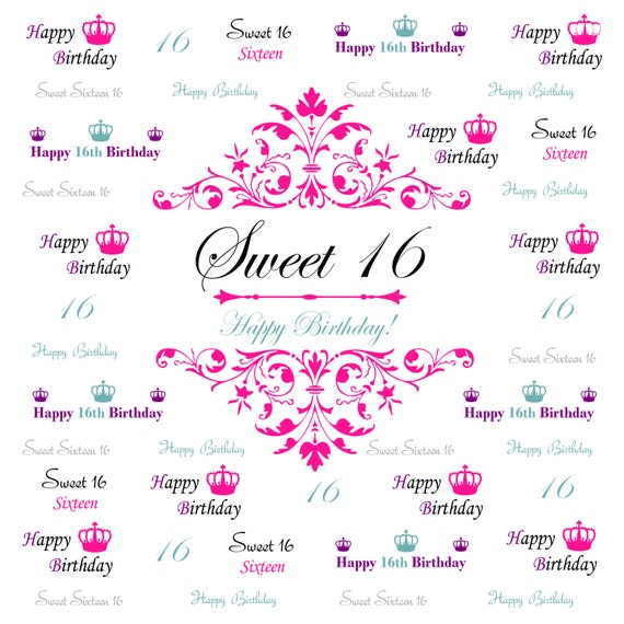 Excellent Sweet 16 backdrop Event step and repeat Backdrop Birthday FF75