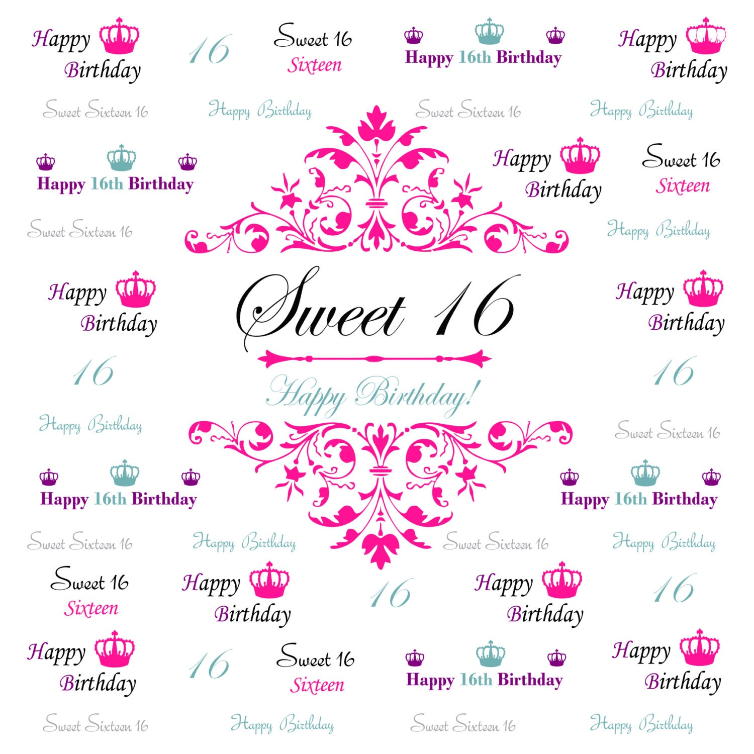 sweet 16 backdrop event step and repeat backdrop birthday. Black Bedroom Furniture Sets. Home Design Ideas