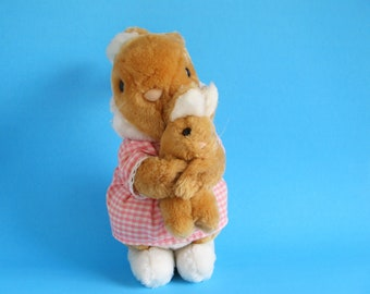 Vintage Mom Bunny Rabbit with Baby Stuffed Animal Dakin 1980s Toy Pink and White Gingham Dress Plush