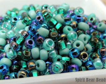 Azure-Malachite Glass Blue Green Czech Glass seed bead mix size 6