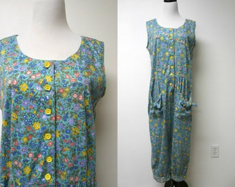80s Jodi Michaels floral jumpsuit . size 14P . made in USA