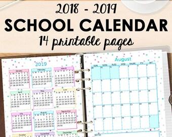 School Calendar, Academic Monthly Planner 2018 - 2019, Monthly Student Planner 2018-2019, Academic Calendar, Letter Size, Instant Download