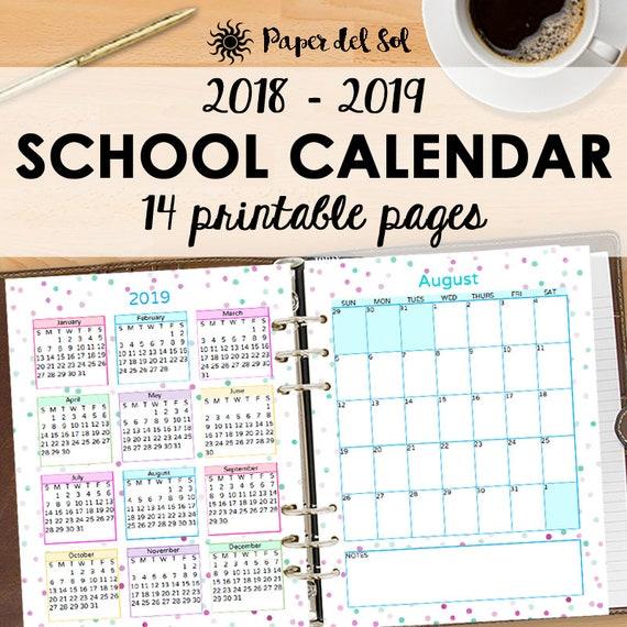 School Calendar Academic Monthly Planner   Monthly