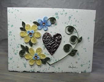 Wedding card, congratulations card, engagement card, wedding anniversary, heart shaped bouquet, quilling, dripping, blank card