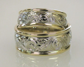 Two tone wedding set with Fine Hand Engraving Made to Order