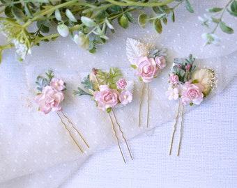 Pink hair pins, Wedding hair pins, Pink bridal hair clips, Flower hair pins, Pink floral hair pins,  Set of 4 hair clips, Romantic hair pins