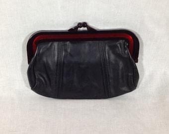Vintage Black Kisslock Clutch