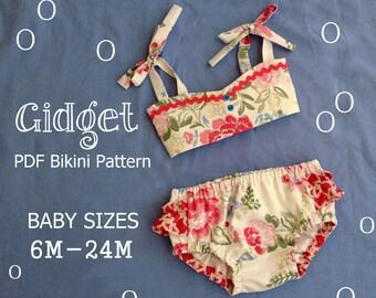 Gidget - Baby Bikini Sewing Pattern. Retro Swimsuit Pattern. Girl Sewing Pattern. Baby Sewing Pattern. Sizes 6m-24m