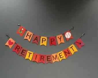 Retirement Banner,  Handmade Retirement with customized hobbies, Red, Yellow, Orange Retirement Banner, Handmade Retirement party decor