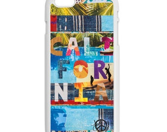 iPhone 6s/6 Case, CALIFORNIA TAPESTRY, Betty Designs Collab, iPhone6s, iPhone 6s Plus, Palm Trees, surf, swim, Avail. w/Black or White Sides