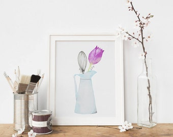 Digital Download: Kitchen Art, Watercolor Print, Digital Download Print, Kitchen Print, Spring Print. Blue Pitcher with Whisk & Tulip