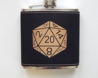 Leather D20 Flask-Black and Red