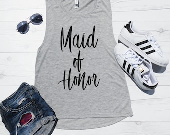 Maid of Honor Tank | Maid of Honor Muscle Tank | MOH Tank Top | Cute Maid of Honor Shirt | Will you be my Maid of Honor Gift | Flowy Tank