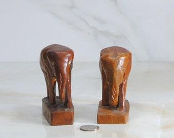 Vintage, Wooden Elephants, Set of 2, Handcarved Miniature Elephants