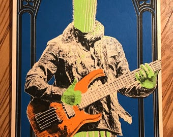 Cactus screen print on birch wood panel 12x24 inch Mike Gordon of PHISH original art print