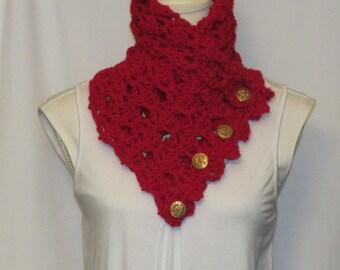Crochet Cherry Red Neck Wrap