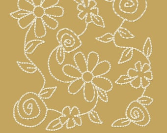 MACHINE EMBROIDERY REDWORK-Block-Floral Stippling 1--3 Sizes-5-6-7 Inch-Instant Download