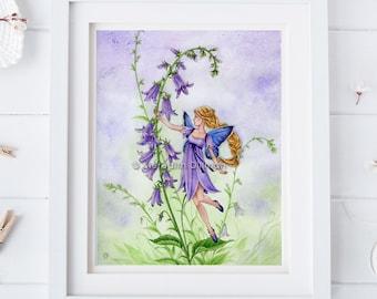 flower fairy print | Purple Bellflower |flower garden | girl's room | fairy tale | Meredith Dillman