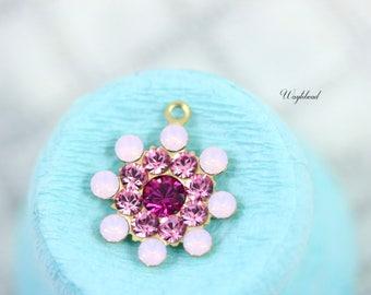 Vintage Style Swarovski Crystal Pendant Charm Set Stones Rhinestone Drops 17mm Rose Water Opal Light Pink & Fuchsia - 2